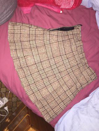 pleated skirt woollen coffee