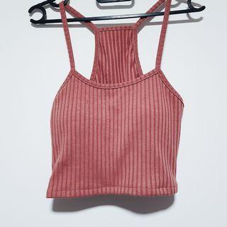 Cropped ribbed brick red cami t back padded tank top