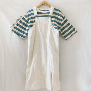 Cream Long Pocket Overall Ulzzang Icecream12
