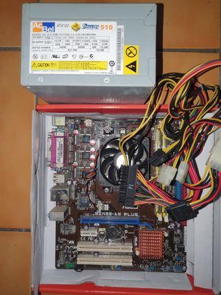 主機板+cpu+DDR2兩條+電源供應器