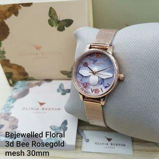 Olivia Burton Bejewelled Floral 3D Bee Rose Gold 30mm