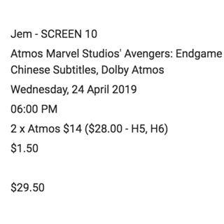 2x Avengers Endgame Tickets [Dolby Atmos] Apr 24th 6pm @ Jurong East Mall