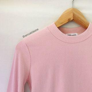 Pink Ribbed Long Sleeve Top Korean Ulzzang