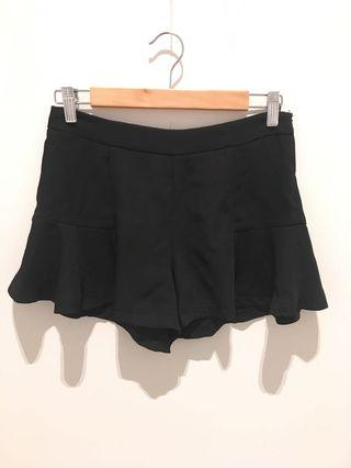 Black frilly shorts