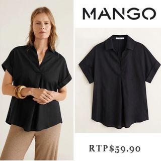 RTP$59.90 NWT Size M Mango Short Sleeve Linen-Blend Shirt Blouse Top Black #endgameyourexcess