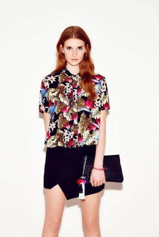 Topshop Bright Leaf Printed Shirt In Multicolour