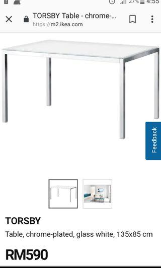 IKEA Torsby Table with Frosted Glass Top