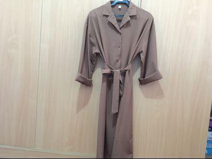 Camel Buttondown Dress with Belt