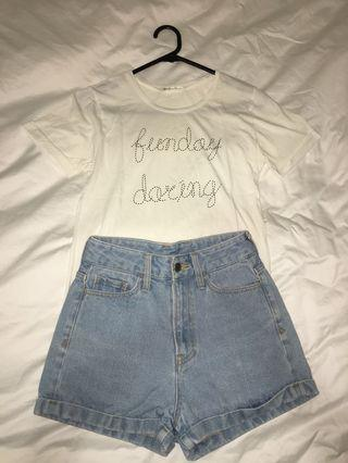 Japanese designer brand tee and denim shorts