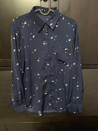 深藍雀仔圖案絲質恤衫