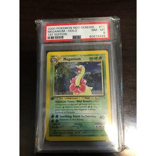 Pokemon Card Meganium 11/111 1st Edition Neo Genesis PSA 8