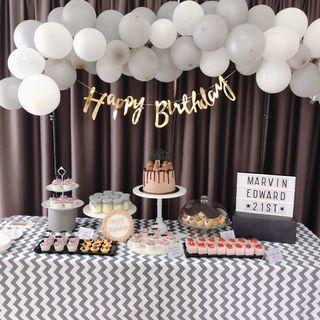 Dessert Table Party Decoration 21st Birthday Black Theme Marble Buttercream Cake