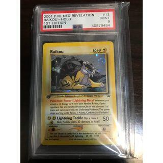 Pokemon Card Raikou (雷公) 1st Edition Neo Revelation PSA 9