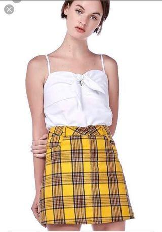 Editor's market yellow checkered skirt
