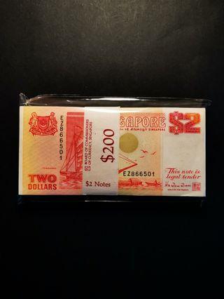 """Rare!! Last Prefix """"EZ"""" Singapore Ship $2 Orange 100-running (GEM UNC)"""
