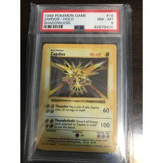 Pokemon Card Zapdos (雷鳥) Shadowless Base Set PSA 8