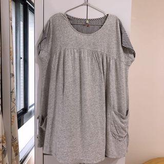 a la sha 口袋不對稱灰色拼接條紋襯衫長版上衣