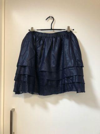 寶藍色透視層層疊短裙💙Dark blue satin see-through layered skirt