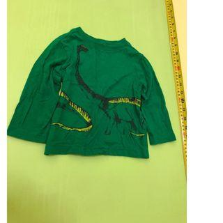 top shirt 12-18M green dino dinosaur            (tommy hilfiger,mothercare,jcrew, crewcuts, chickeeduck, kingcow, carter, elle, crewcuts, zara kids, baby gap, gap, disney, polo)