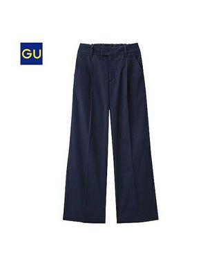 GU UNIQLO High Waist Wide Leg Pants (Navy M)