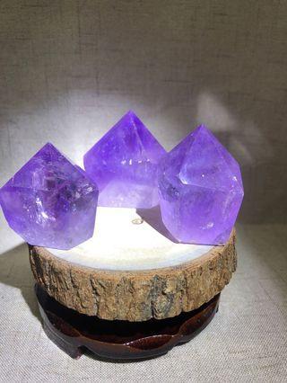 天然水晶 紫水晶柱