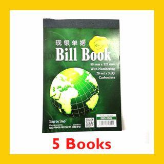 [5 BOOKS] Carbonless Bill Book with Numbering 20 sets x 3ply – SBS0002 (88MM x 127MM)
