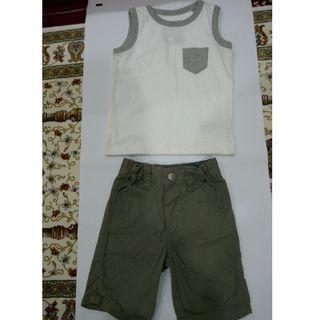 Boy set shirt and shorts 12-18 mths by Mini Rebel & Next