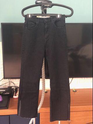 全新 黑色牛仔寬褲