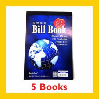 [5 BOOKS] Carbonless Bill Book with Numbering 30 sets x 2ply – SBS0003 (131MM x 192MM)