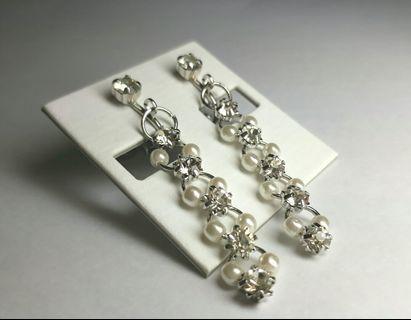 長鏈華麗夾式耳環