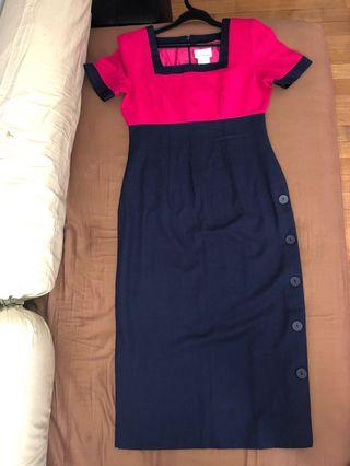 Classy dress in a rich pink and navy