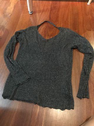 🚚 Grey Knitted Pullover H&M cutout back S