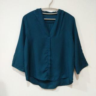 🚚 優雅深湖水藍襯衫