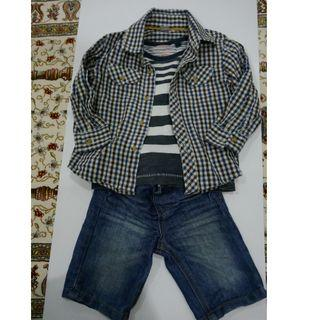 Boy set T-shirt, Shirt and shorts 12-18 mths by Next, TU & Denim Co
