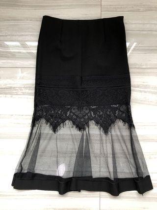 Lacy Mesh Mermaid Skirt (Black)