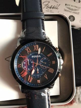 Fossil Grant Chronograph Navy Leather