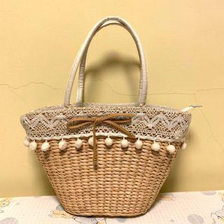 🚚 (夏天小清新)午茶、海邊🏖️、沙灘 竹編包 編織包