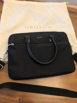 🚚 Oroton leather and canvas notebook bag
