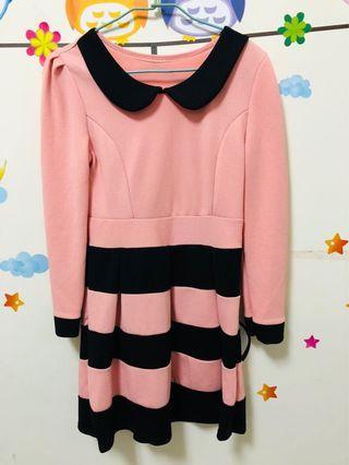 🚚 粉黑條紋洋裝