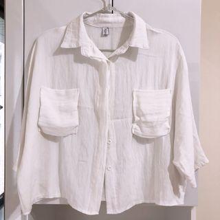 🚚 短版慵懶白色襯衫