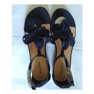 Brand New Dark Blue Suede Sandals with Flower Design