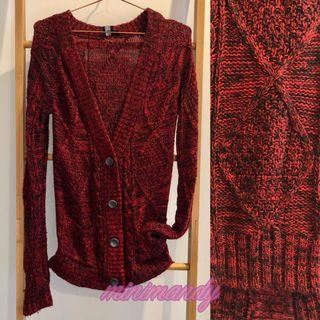 ASOS design dark red button long knitted cardigan jumper cable knit slim fit