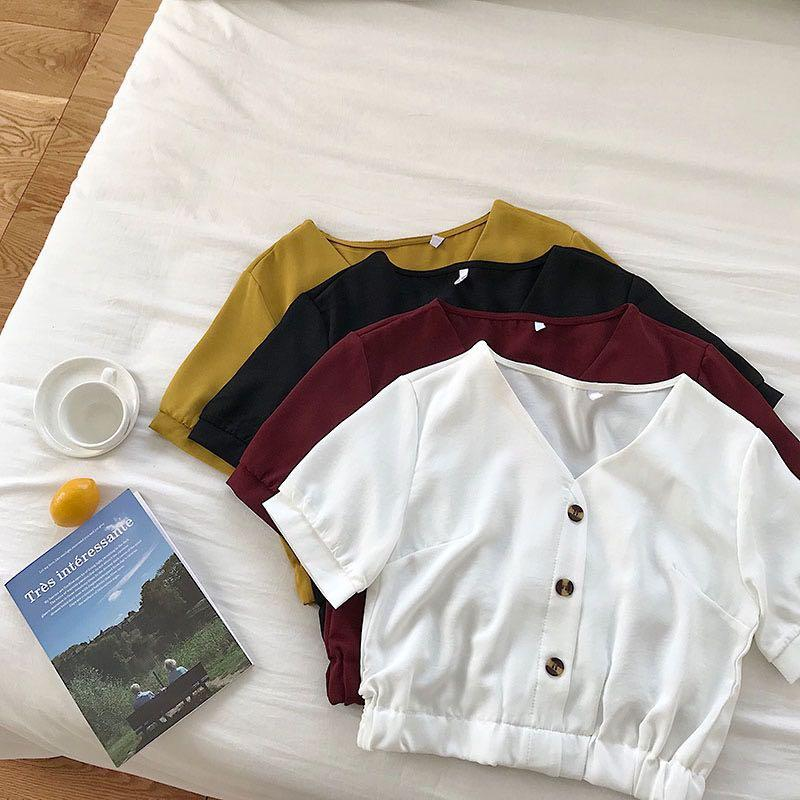 #186 (5 COLOURS) ulzzang button up v neck blouse formal black/red/pink/white/mustard