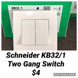 Schneider Vivace KB32/1 Two Gang One Way Switch.
