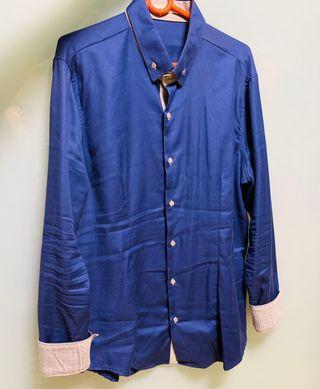 Nara Camicie shirt in dark blue with double collar