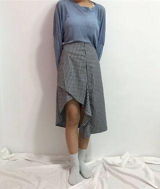 Room4藍色不規則格子裙