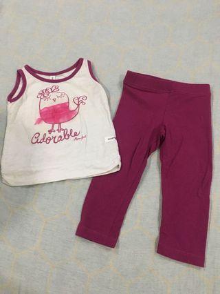 Moose Girl Dark Pink Top&Leggings