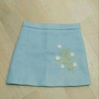粉藍絨料短裙