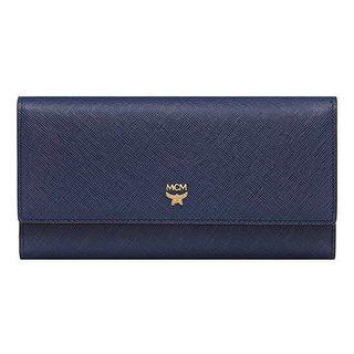 🚚 MCM ELDA Navy Long Trifold Wallet Purse 長夾 卡夾 錢包 海軍藍 保證正品