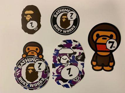 全新正版 A Bathing Ape HK Bape Store 七周年貼紙